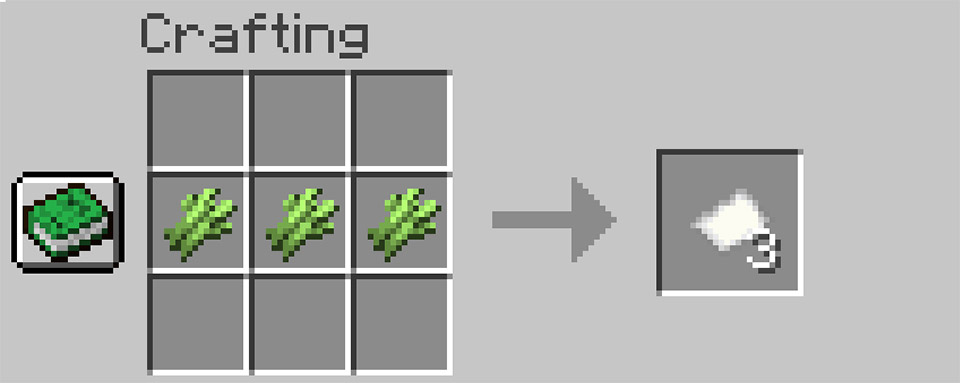 Crafting paper from sugar cane in Minecraft