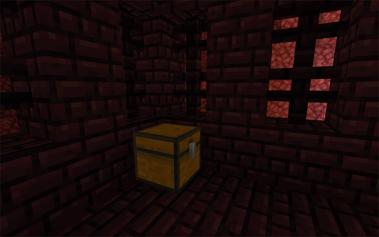 A treasure chest inside a Nether Fortress