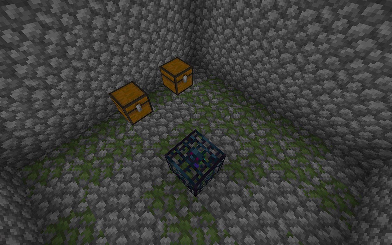 Spawner and chests in a dungeon