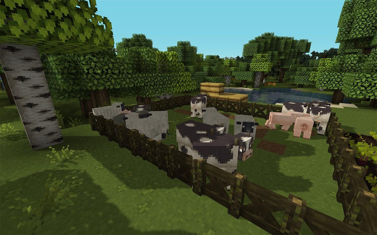 Minecraft animals in a pen