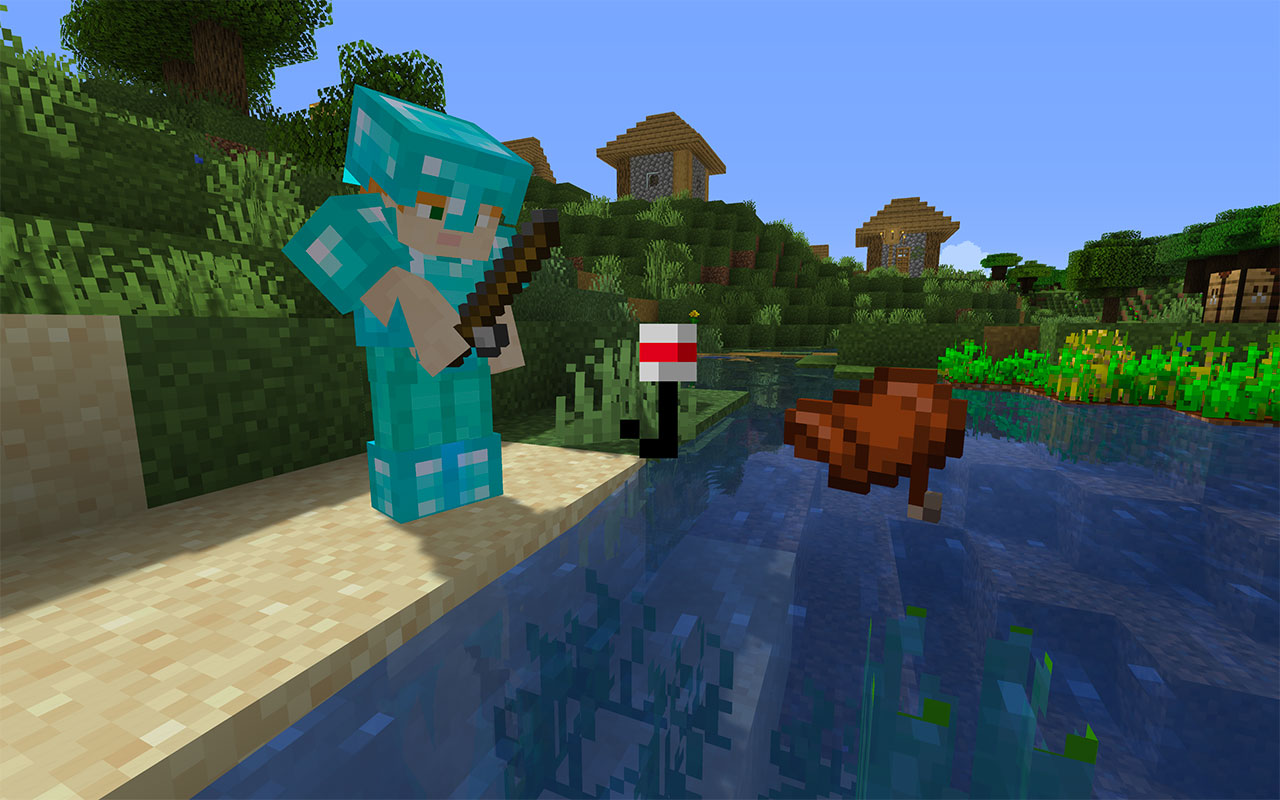 Fishing up a saddle in Minecraft