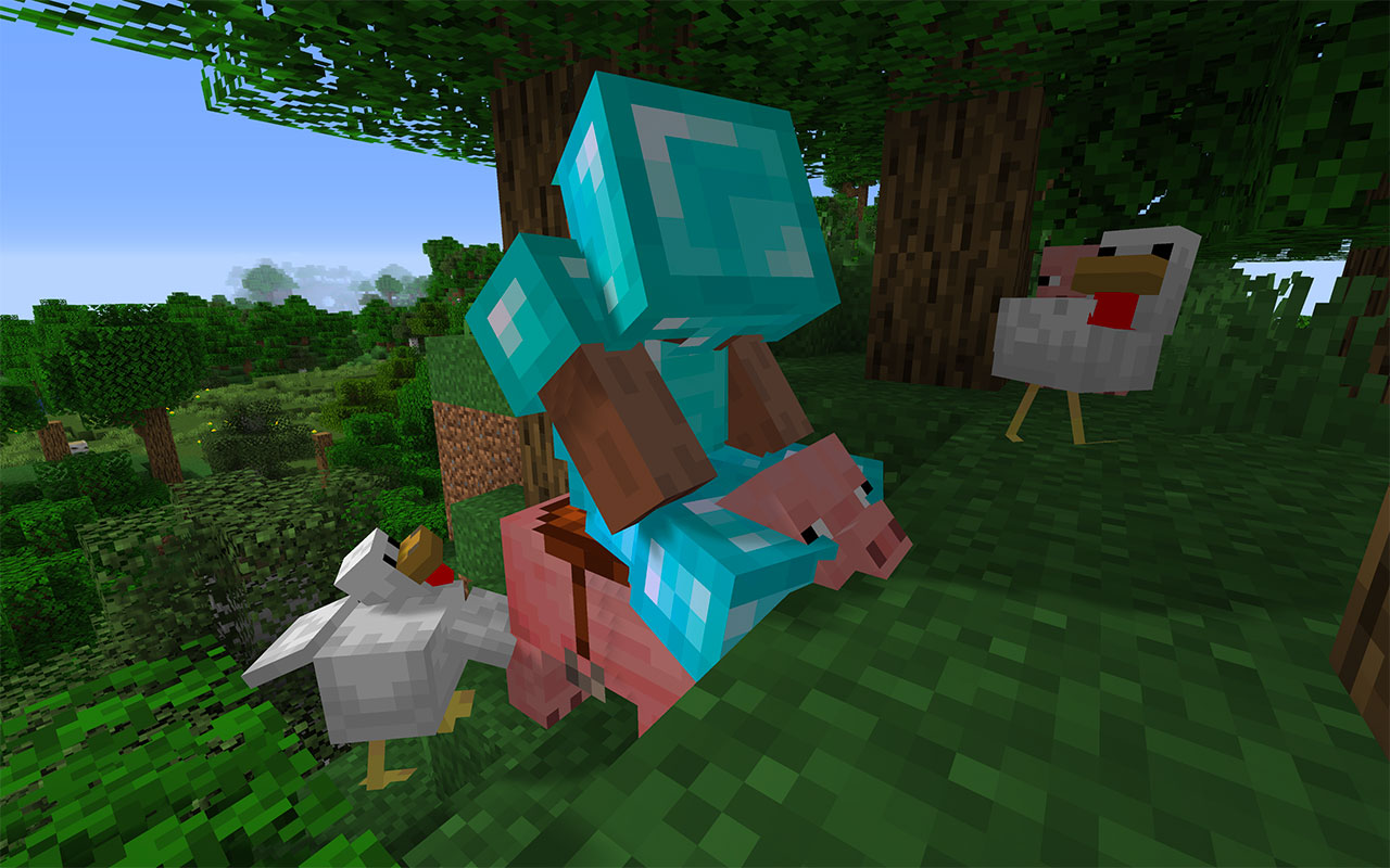 Sitting on a Pig in Minecraft