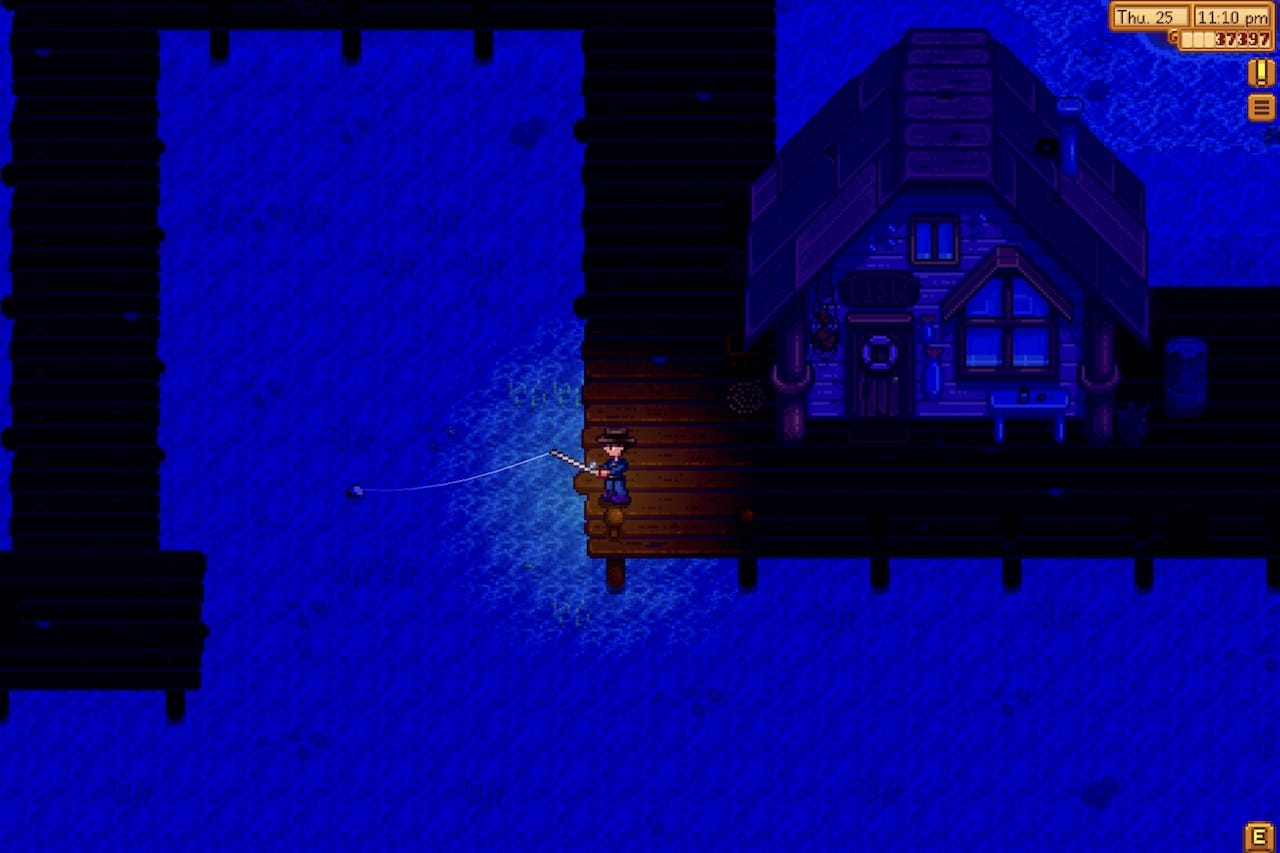 fishing at night in Stardew Valley